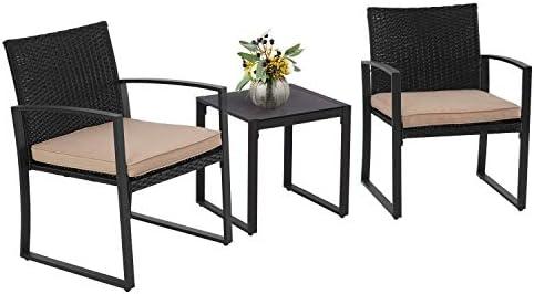 Patiomore Outdoor Furniture 3 Pieces Patio Bistro Set Black Wicker Rattan Chair Modern Conversation Set