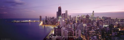Culturenik Chicago Illinois Purple Landscape Decorative City Travel Photography Print (Unframed 12x36 Poster)
