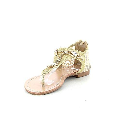 Go Tendance - Sandalias piso tiene decoraciones cadenas y diamantes - Mujer - Dorado, 41 EU
