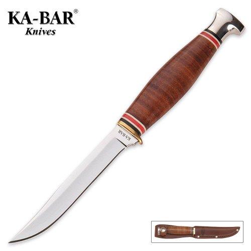 - KA-BAR LITTLE FINN HUNTER KNIFE w/ LEATHER SHEATH