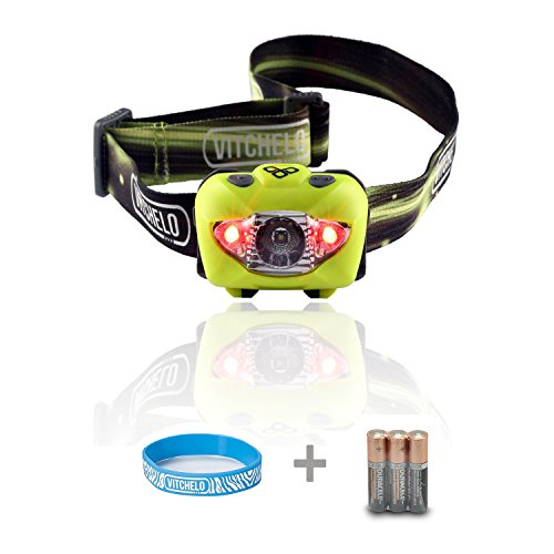 Vitchelo V800 Headlamp Flashlight with Red LED, Yellow