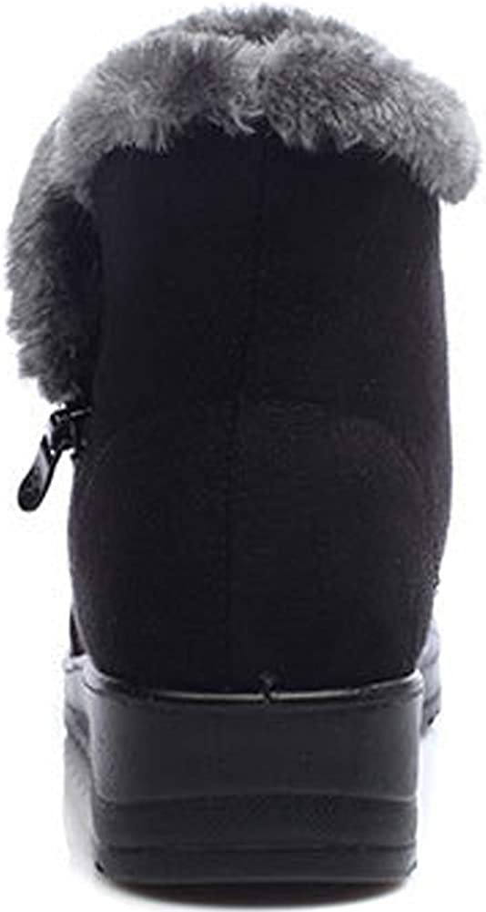 Stivali da Neve con Pelliccia Caldo Scarpe Boots Invernali Stivaletti Donna Antiscivolo Caviglia Piatto Stivaletti All\'aperto Comodi Nero