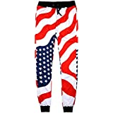 Unisex Fashion USA American Flag Sweatpants Stars Stripes Pants Full Length Loose Comfortable Trousers