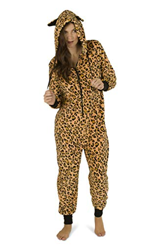 Totally Pink Women's Warm and Cozy Plush Onesie Pajama (Leopard, -