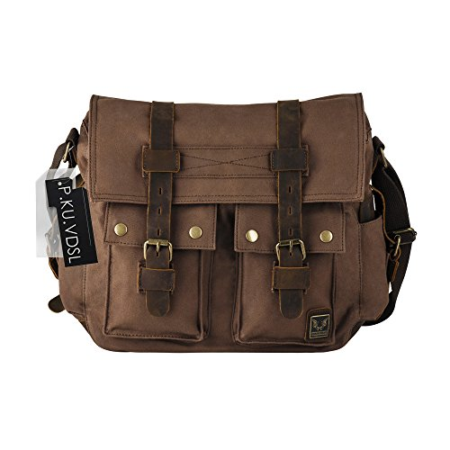 Messenger Bags, P.KU.VDSL Men's Canvas Leather DSLR SLR Vintage Camera Messenger Bag, Shoulder Bookbag Laptop Bag with Waterproof Shockproof Insert for Digital Cameras, Tablets, Phones, Video Recorder (Bag Olympus Gadget)
