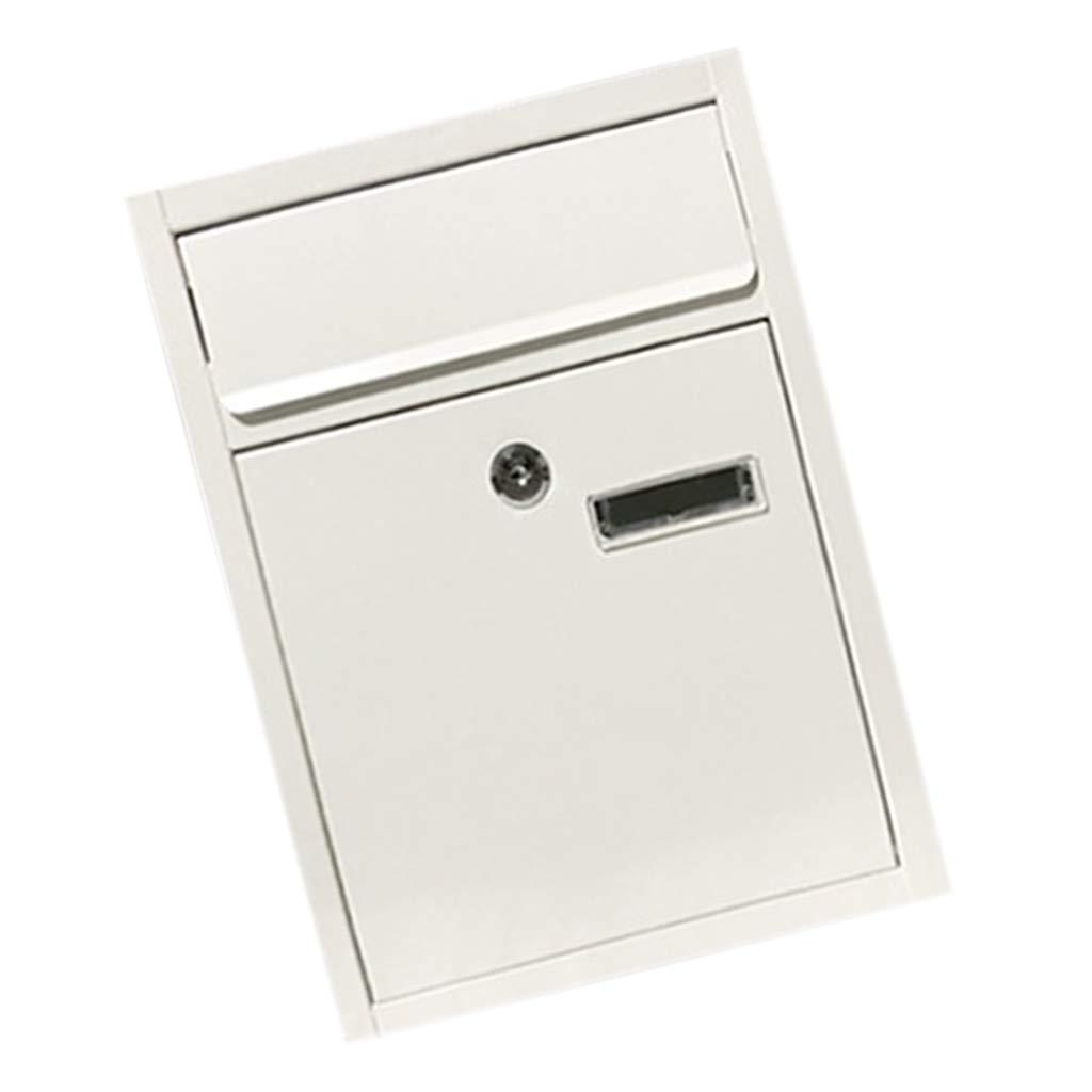 B Blesiya Outdoor Security Locking Mailbox Letterbox Postbox Newspaper Magazines Hatch Case for Rural Safety Mails Locking - White