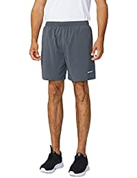 "Men's Woven 5"" Running Workout Shorts Zipper Pockets"