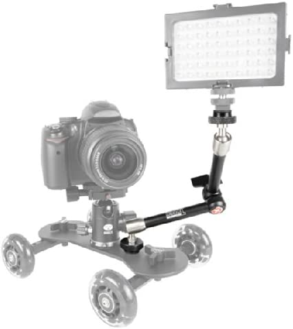 Color Negro y Plateado Kamerar K1112 28/cm//11 Brazo alargador articulado para Dolly de tr/ípode para c/ámara r/éflex Digital