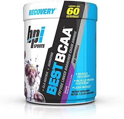 BPI Sports Best BCAA - BCAA Powder - Branched Chain Amino Acids - Muscle Recovery - Muscle Protein Synthesis - Lean Muscle - Improved Performance – Hydration – Grape - 60 Servings - 1.32 Pound