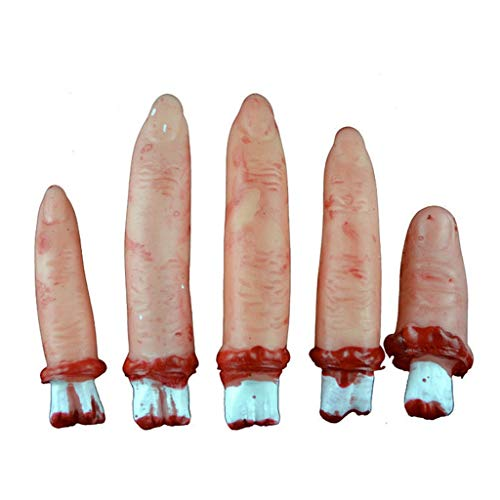 Unionm Halloween Props, DIY Decoration Horror Blood Finger Bloody Dead Body Parts Prop Toys Haunted House Decoration Gift for Home Yard Outdoor Indoor Party Bar Home (5 pcs/Set)