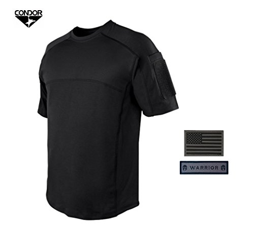 857425f1ab4ca Condor Trident Battle Top Short Sleeve Combat Shirt (BLACK) + 2 FREE Velcro  Patches