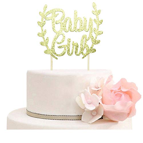 Baby Girl Cake Topper, Girls Baby Shower, Gender Reveal Party Decorations Gold Glitter -