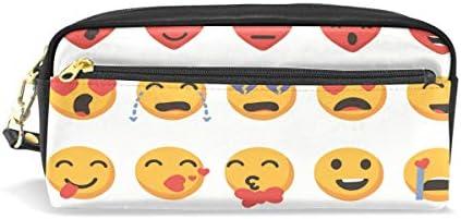 Eslifey Valentine Emoji Set Estuche portátil de piel sintética para lápices para niños, bolsa de cosméticos, estuche de maquillaje impermeable: Amazon.es: Oficina y papelería