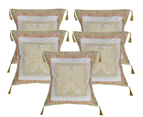 Lalhaveli Home Decor Silk Fabric White Color Throw Pillow Cushion Cover 18 x 18 Inch Set of 5 Pcs ()