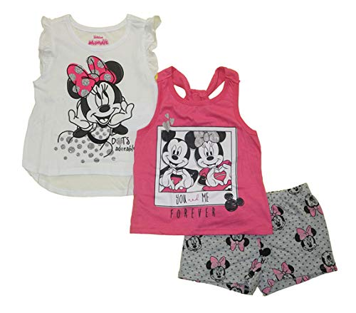 Disney Girls 3PC Shirts and Short Set: Wide Variety Includes Minnie, Frozen, and Princess (Minnie You & Me Forever, 4)]()