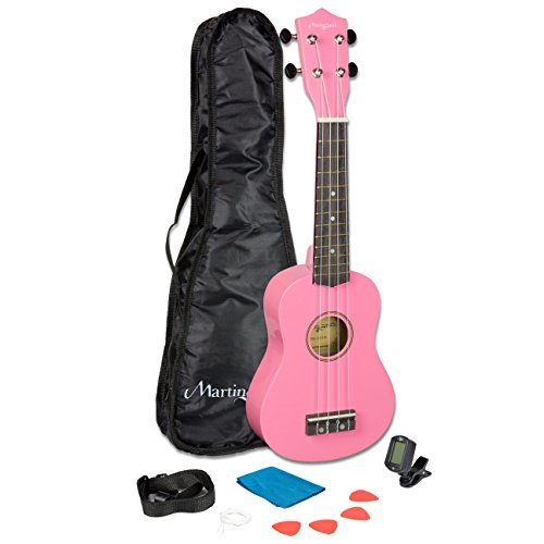 (Martin Smith 21 Inch  Soprano Ukulele Starter Kit - Pink, With Tuner, Bag, Plecs, Strap and 2 Months of Lessons)