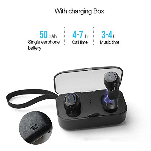 HUIGE Wireless Earbuds,Bluetooth 5.0 Headphones Mini, Auto Pairing Stereo,Noise Canceling Earbuds with Mic & Charging Case,Black