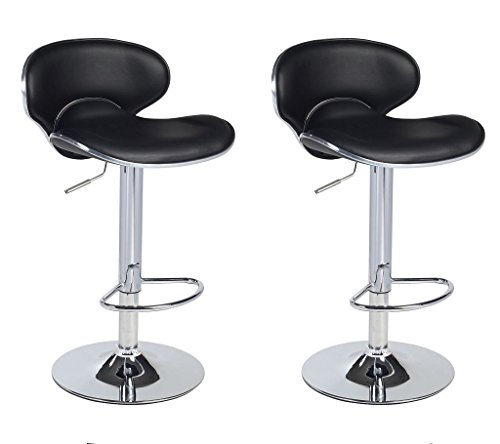 Cheap Duhome 2 PCS Synthetic Leather Saddle Seat Adjustable Swivel Bar Stool Kitchen Counter Height Chairs (Black)