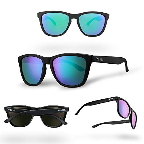 WOOSH Polarized Lightweight Sunglasses for Men and Women - Green Lens & Black Matte Frame - Unisex Sunnies for Fishing, Beach and Outdoors