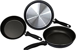 Strada Aluminum Nonstick 8-inch 9.5-inch 10-inch Frying Pans. Three Piece Set. Blue. 2 Millimeters.