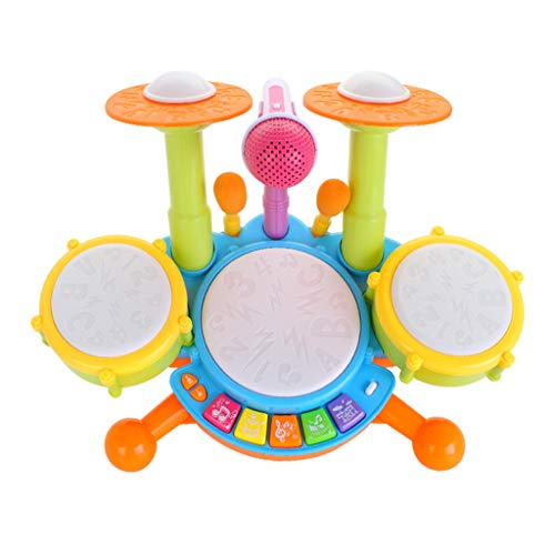 LONGZUYS Drum Set for Toddler Boys, 2-in-1 Children Musical Instrument Rock Roll Jazz Drum Kit Set with Microphone, Cool Music Drum Percussion Toy Set (Baby Toy Drum Sets)