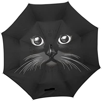 OREZI Van Gogh Starry Night Art Double Layer Travel Inverted Umbrella with C Shape Handle for Car Use,Windproof and Waterproof Reverse Folding Lightweight Umbrellas for Men and Women.