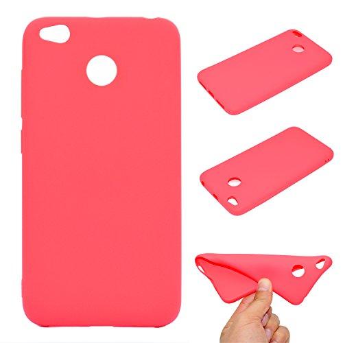 Funda para Xiaomi Redmi 4X , IJIA Puro Blanco TPU Silicona Suave Cover Tapa Caso Parachoques Carcasa Cubierta Case para Xiaomi Redmi 4X (5.0) Red