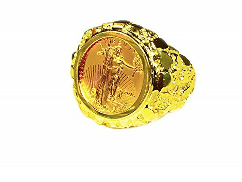 14K Yellow Gold Mens 22 Mm Nugget Coin Ring With A 22K 1/10 Oz American Eagle Coin-Random Year Coin ()