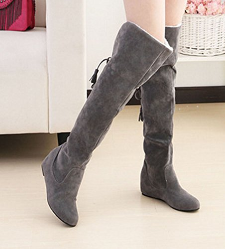 Heighten The Fashion Boots Up Women's Lace Grey Above Aisun Knee A0aBFqxwc