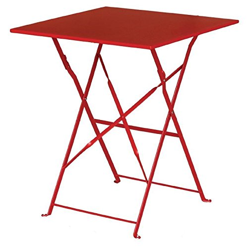 Bolero Red Pavement Style Steel Table Square 710x600x600mm Restaurant Hotel Nisbets 22014