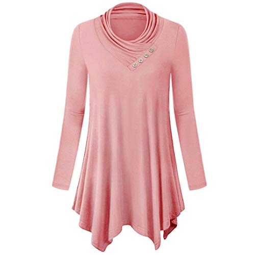 YOcheerful Womens Shirt Top Pullover Long Sleeve Pyjama Set (Pink,S)