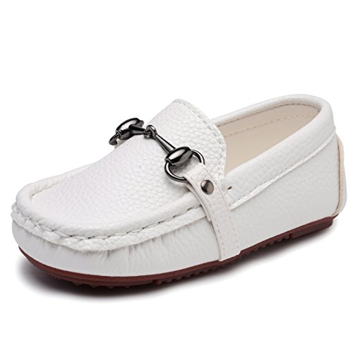 Image of UBELLA Toddler Boys Girls Soft Split Leather Slip-On Loafer Boat Dress Shoes