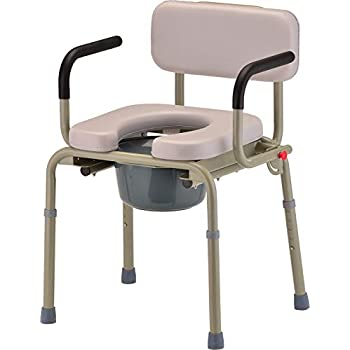 Image of Health and Household NOVA Drop Arm Commode with Padded Seat and Back, Drop Down Arms for Easy Transfer, Stand Alone Bed Side Commode and Over The Toilet Commode, Comes with Bucket, Lid and Slash Guard