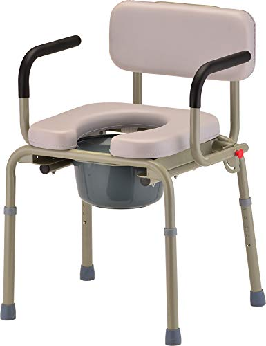 NOVA Bed Side Commode with Drop Arm (for Easy Transfer) & Padded Seat & Back, Over The Toilet Commode, Comes with Bucket, Lid & Slash Guard