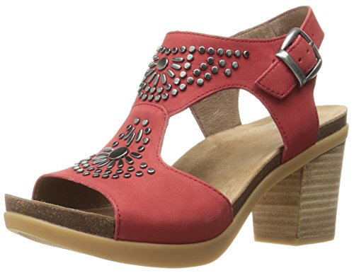 Dansko Women's Deandra Heeled Sandal, Red Nubuck, 37 EU/6.5-7 M US by Dansko