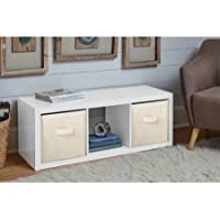 Durable Better Homes and Gardens 3-Cube Organizer, High Gloss White Lacquer