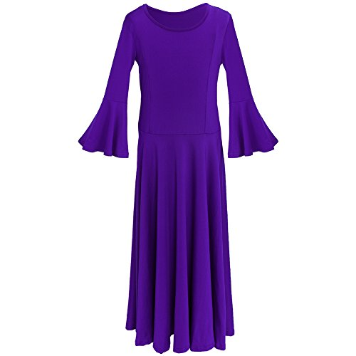 IWEMEK Kids Girls Cotton Long Sleeve Praise Liturgical Loose Fit Full Length Lyrical Dance Dress Ballet Dancewear Costume Purple - Bell Sleeve -
