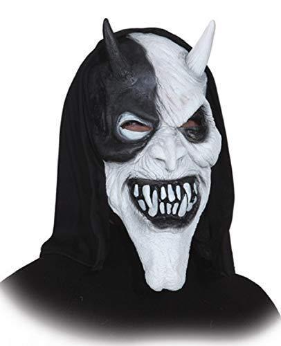 Mens Black White Scary Creepy Evil Devil Satan Hooded Latex Halloween Fancy Dress Costume Outfit Mask