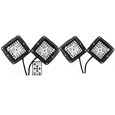 IOV LIGHT 4pcs 3x3 Inch Cree Led Cubes Flood Beam with RGB Halo Ring Chasing RF Remote Controller Many Flashing Ways Led Emergency Light for Off road Truck 4x4 Jeep 4wd ATV UTV Boat Led Fog Light