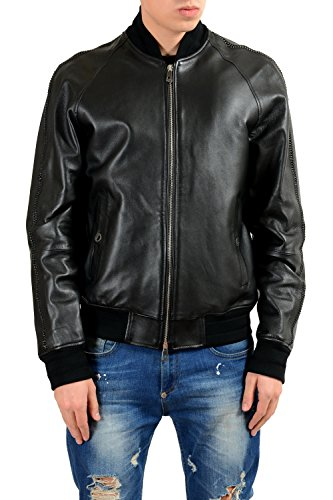 Versace Collection Men's 100% Leather Chain Trimmed Full Zip Jacket US L IT - Clothing Versace India