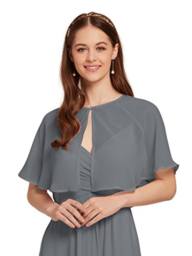 (AW Women's Chiffon Cardigan Shrug Cover Up Wedding Cape Wrap Shawl Bolero Jacket for Bride, Gray, L)