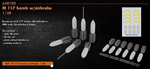 EDU648190 1 48 Eduard Brassin M117 Bomb with Airbrake Set [MODEL KIT ACCESSORY] by Eduard