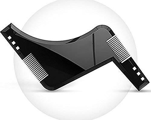 Herramienta de Modelado Barba - Delaman Plantilla Modelado Modelado Barba Peine para Hombre Corte Curva, Corte Paso, Escote y Barba Perilla 11.37x17x0.5cm
