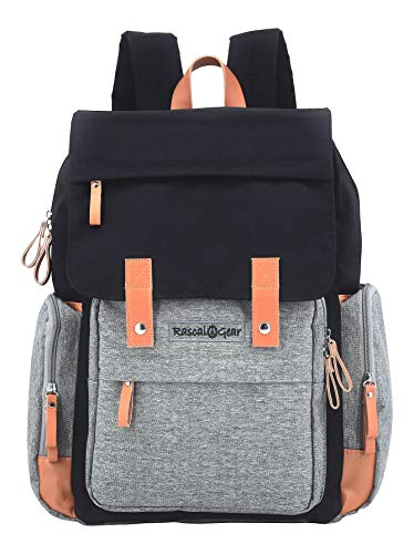 Rascal Gear Diaper Bag Backpack in Gray and Black with Two Large Capacity...