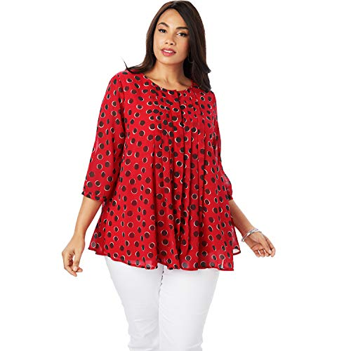 - Jessica London Women's Plus Size Scarf Pleat Blouse - Hot Red Dot, 12 W