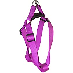 Pet Champion Adjustable No Pull Step-In Easy Lead Dog Harness, Magenta Purple, Large/ Extra Large 1in x 22-36in