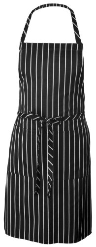 Chef Works CSBA-BCS Chalk Stripe Bib Apron with Pockets, 34-1/4-Inch Length by 27-Inch Width, Black/White