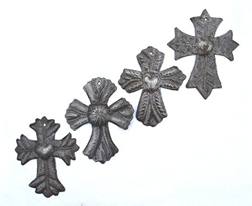 Cross, Religious Decor, Milagro, Haitian Metal , Recycled Art (set of 4) 3