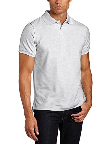 Lee Uniforms Men's Short Sleve Uniforms Polo, Heather Grey, Medium