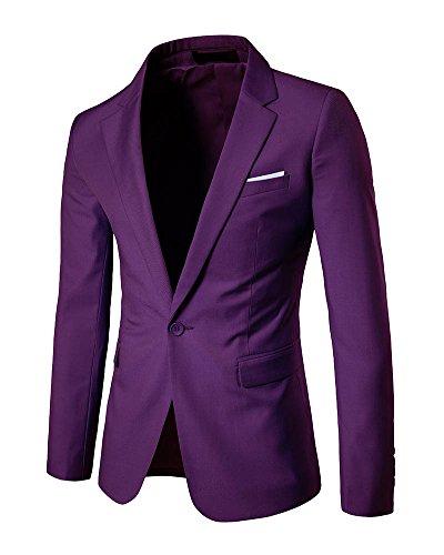 Jacket Veste Homme Costume Casual Bouton Fit Un Elegant Manteau Slim Violet Blazer AwZqgA6